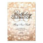 Elegant 80th Birthday Party Copper Glitter Lights 4.5x6.25 Paper Invitation Card
