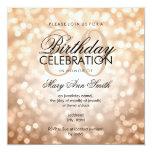 Elegant 80th Birthday Party Copper Glitter Lights Invitation