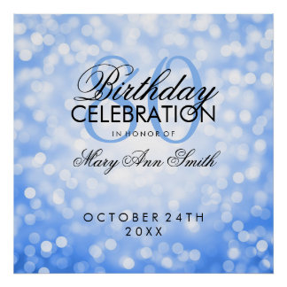 Elegant 80th Birthday Party Glitter Lights Blue Poster