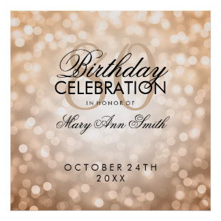 Elegant 80th Birthday Party Glitter Lights Copper Poster