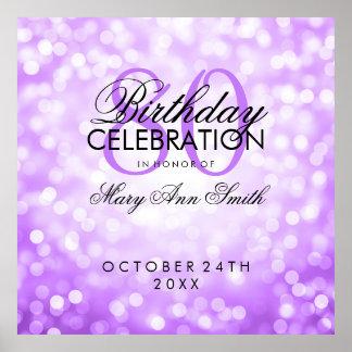 Elegant 80th Birthday Party Glitter Lights Purple Poster