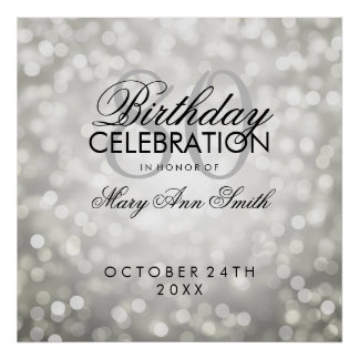 Elegant 80th Birthday Party Glitter Lights Silver Poster