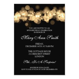Elegant 80th Birthday Party Gold Bokeh Lights 5x7 Paper Invitation Card