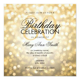 Elegant 80th Birthday Party Gold Glitter Lights Card