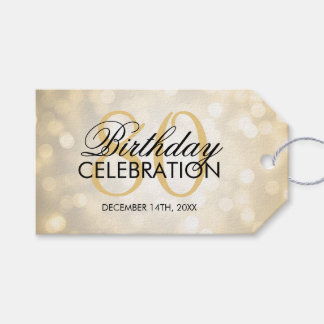 Elegant 80th Birthday Party Gold Glitter Lights Pack Of Gift Tags