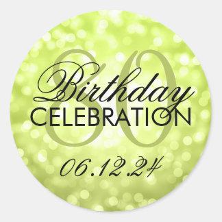 Elegant 80th Birthday Party Green Glitter Lights Classic Round Sticker