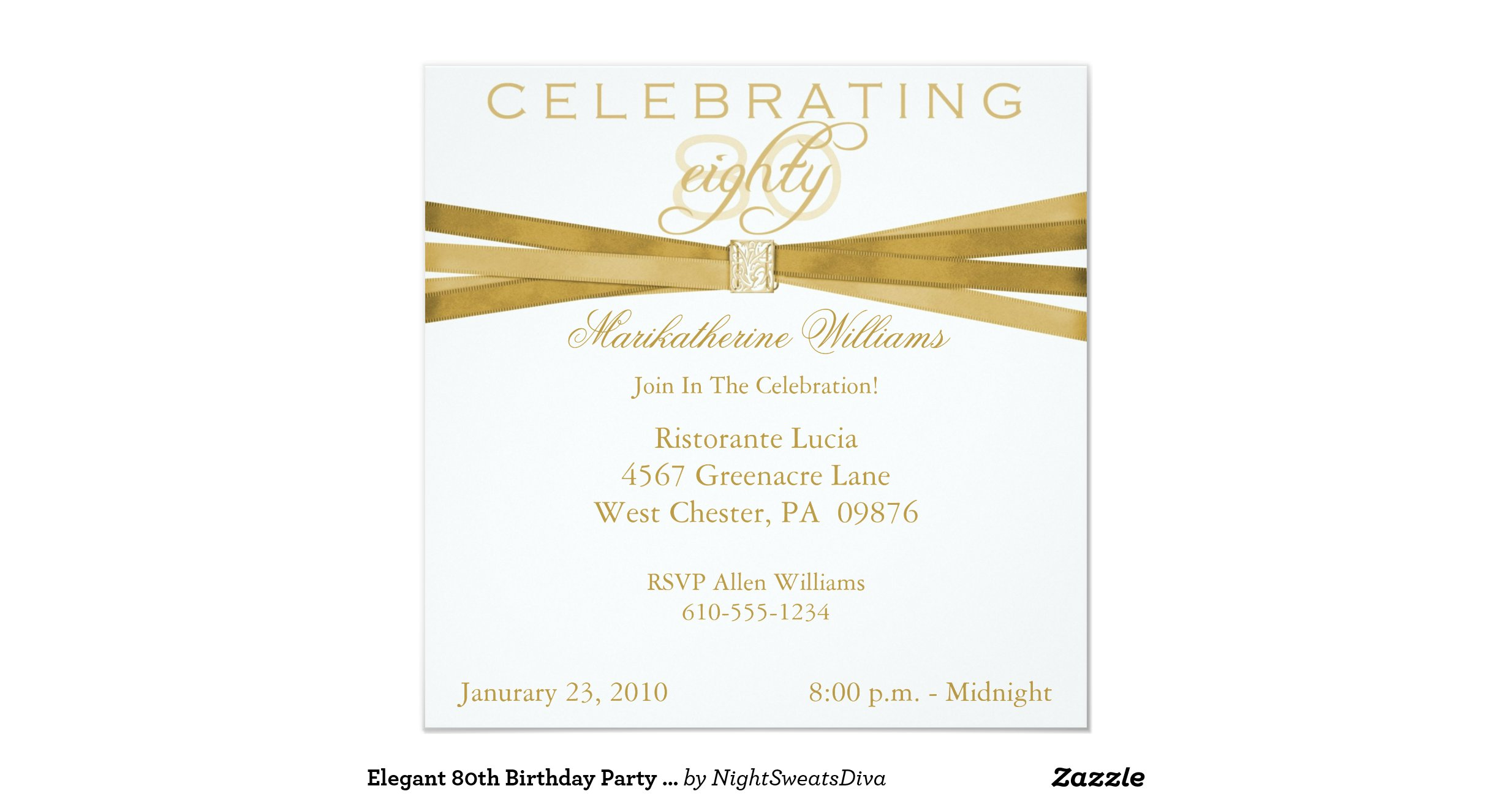 Elegant 80th Birthday Party Invitations Quotes