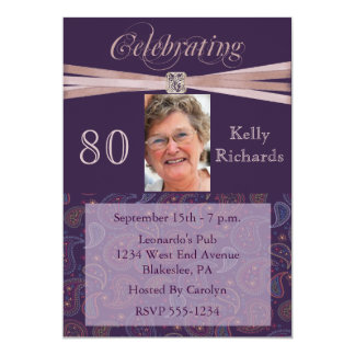"Elegant 80th Birthday Party  Photo Invitations 5"" X 7"" Invitation Card"