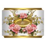 "Elegant 80th Birthday Party Pink Gold Roses White 5"" X 7"" Invitation Card"