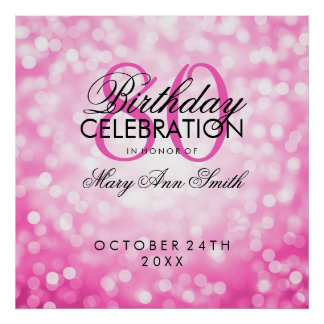 Elegant 80th Birthday Party Pink Lights Copper Poster