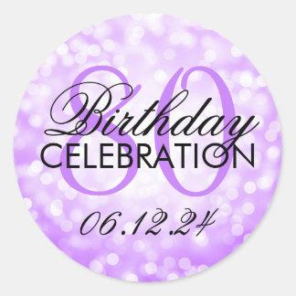 Elegant 80th Birthday Party Purple Glitter Lights Classic Round Sticker
