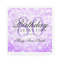 Elegant 80th Birthday Party Purple Glitter Lights Paper Napkin