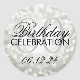 Elegant 80th Birthday Party Silver Glitter Lights Classic Round Sticker