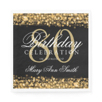Elegant 80th Birthday Party Sparkles Gold Napkin