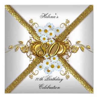 Elegant 80th Birthday Party White Daisy Gold Card