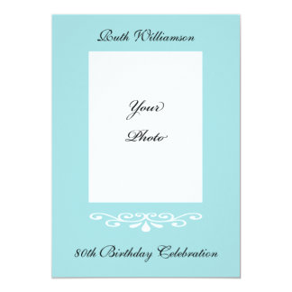 Elegant 80th Birthday Photo Invitation