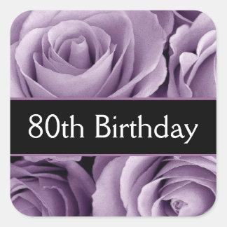 Elegant 80th Birthday Purple Roses Square Sticker