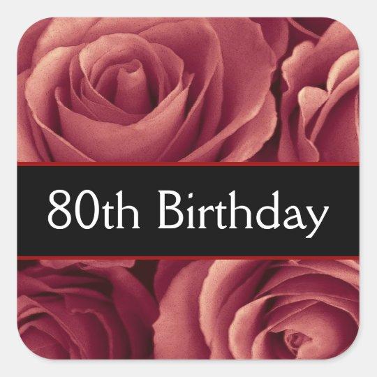 Elegant 80th Birthday Red Roses Square Sticker