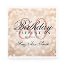 Elegant 80th Birthday Rose Gold Glitter Lights Napkin