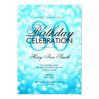 Elegant 80th Birthday Turquoise Glitter Lights Card