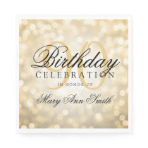 Elegant 90th Birthday Party Gold Glitter Lights Paper Napkin