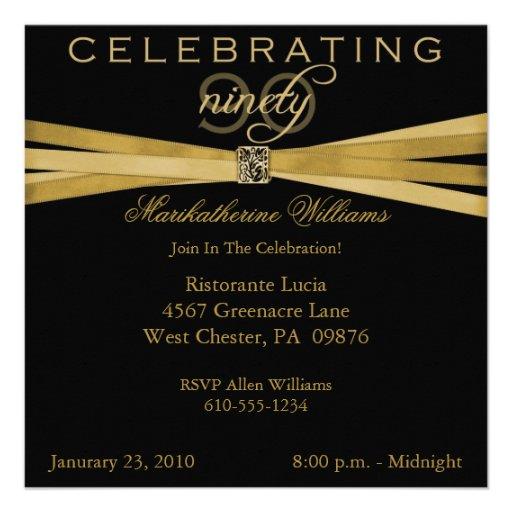 Elegant 90th Birthday Party Invitations (front side)