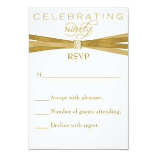 "Elegant 90th Birthday Party Invitations RSVP Card 3.5"" X 5"" Invitation Card"