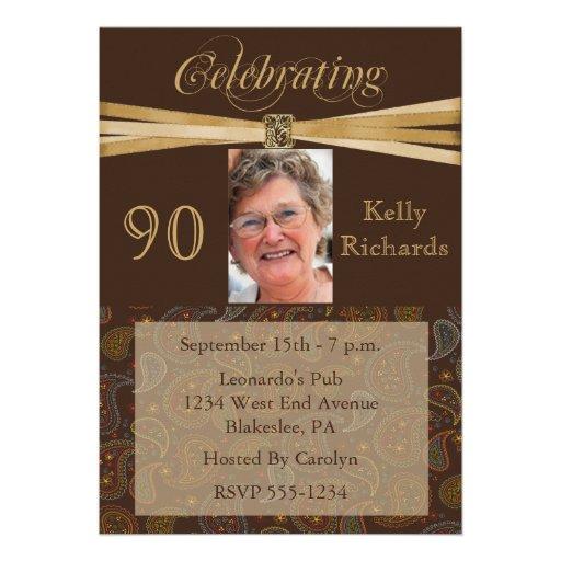 Elegant 90th Birthday Party  Photo Invitations