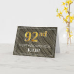 [ Thumbnail: Elegant 92nd Birthday: Faux Wood, Faux Gold Look Card ]