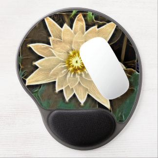 Elegant abstarct   off white flower gel mouse pad
