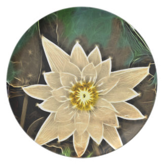 Elegant abstarct   off white flower party plate