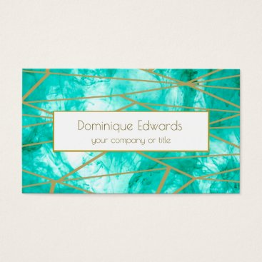 Elegant  Abstract Aqua Blue Ink Gold Professional Business Card