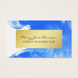 Elegant Abstract Blue Watercolor Brushstrokes Business Card