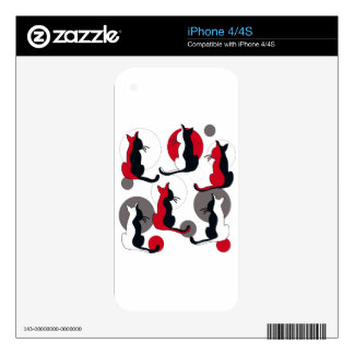Elegant abstract cats decals for the iPhone 4