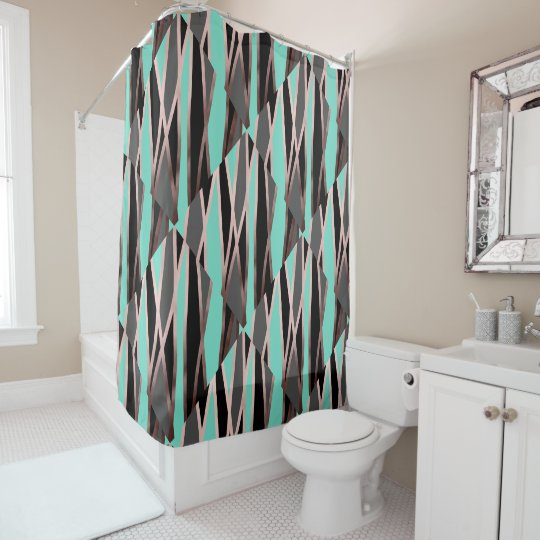 Elegant Abstract Faux Rose Gold Black Grey Mint Shower Curtain