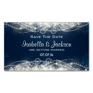 Elegant Abstract Lace and Pearls Save The Date Business Card Magnet