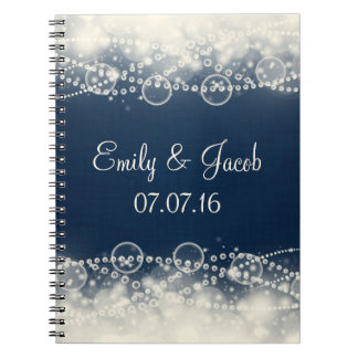 Elegant Abstract Lace and Pearls Wedding Spiral Notebook