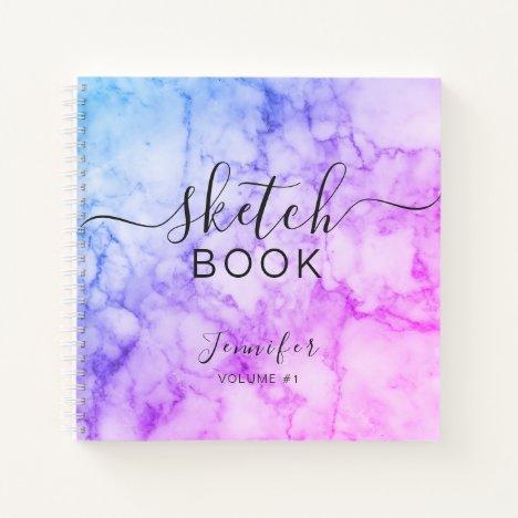 Elegant Abstract Sketchbook Name Script Marble Notebook