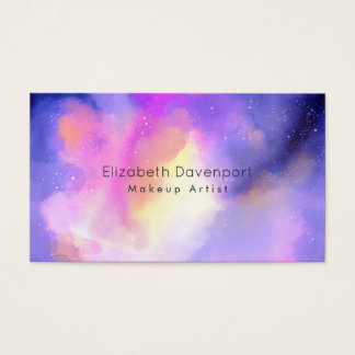 Elegant Abstract Watercolor Makeup Artist Business Card