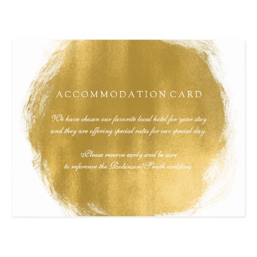 Elegant Accommodation Gold Paint Look Postcard
