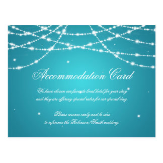 Elegant Accommodation Sparkling String Turquoise Postcard