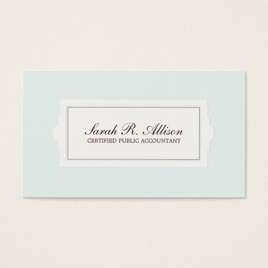 Elegant Accountant Plaque Style Light Blue Business Card