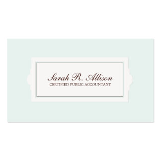 Elegant Accountant Plaque Style Light Blue Double-Sided Standard Business Cards (Pack Of 100)