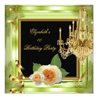 Elegant Add Age Birthday Green Gold Roses 5.25x5.25 Square Paper Invitation Card
