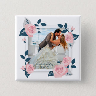 Elegant Add Your Own Photo Wedding Pin Button