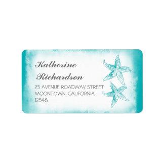 elegant address label with blue starfish couple