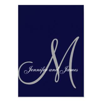 Elegant Affair Navy Blue Grey Initial Wedding Invitation