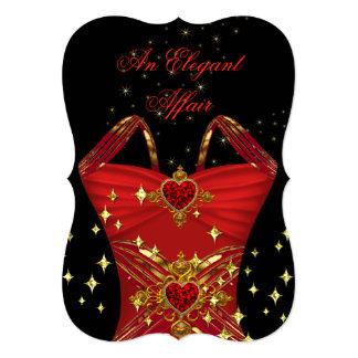 Elegant Affair Red Dress Black Gold Birthday 2 5x7 Paper Invitation Card