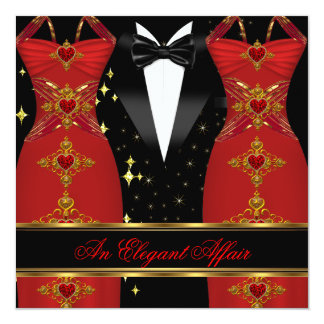 Elegant Affair Red Dress Black Tie Gold Birthday 3 Custom Invites