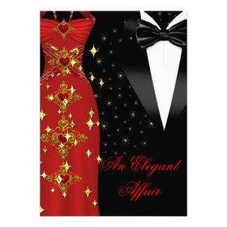 Elegant Affair Red Dress Black Tie Gold Birthday Cards